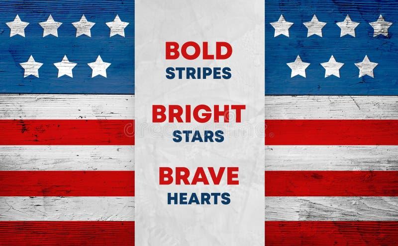 Bandiera di U.S.A. su legno, slogan patriottico immagini stock libere da diritti