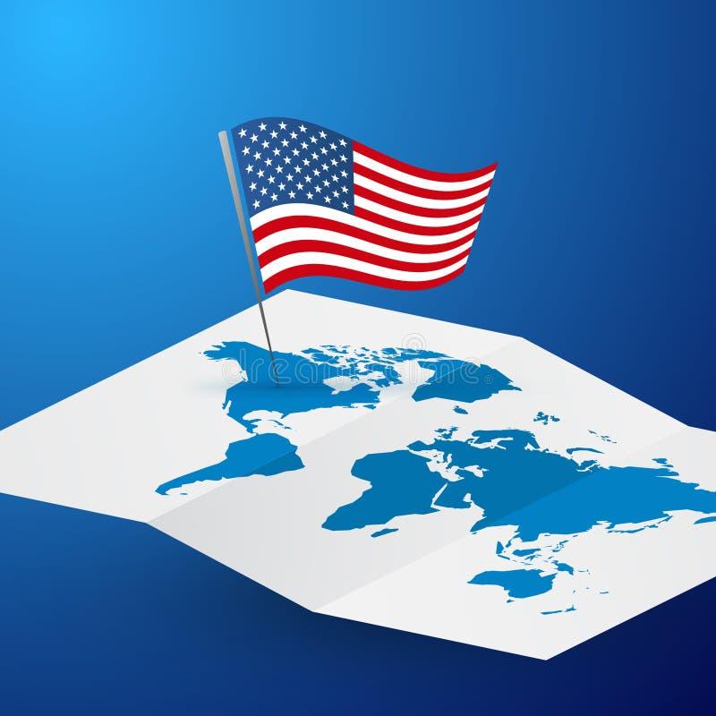Bandiera di U.S.A. sul concetto blu dell'America di viaggio di vettore di mondo dell'estratto in bianco della mappa royalty illustrazione gratis