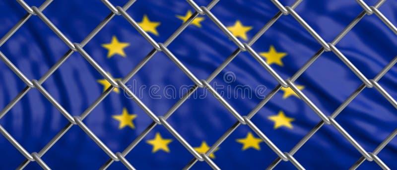 Bandiera di Unione Europea dietro una maglia del filo di acciaio illustrazione 3D royalty illustrazione gratis