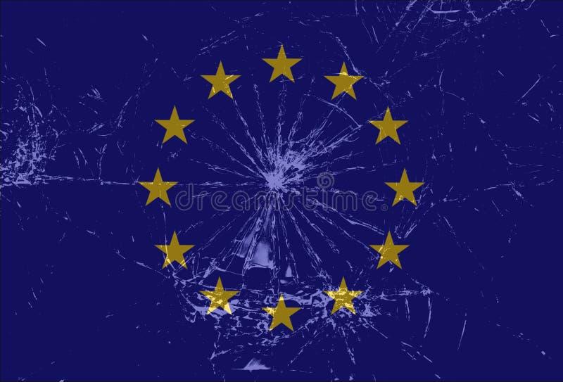 Bandiera di Unione Europea rotta, vetro incrinato, Brexit, Grexit, fondo di UE illustrazione di stock