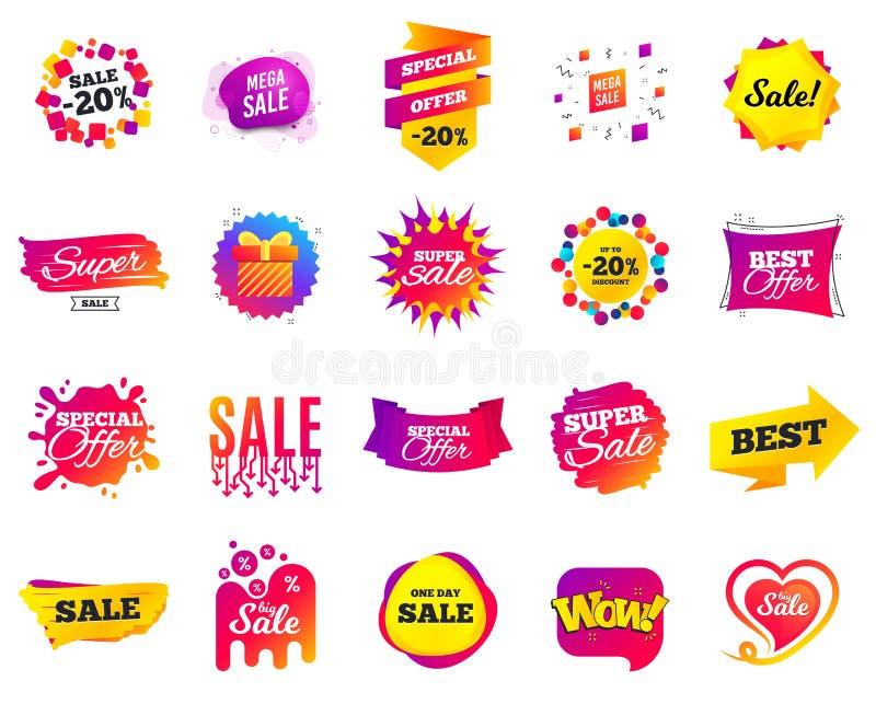 Bandiera di vendita Etichette del modello di offerta speciale Sconti cyber di vendita di luned? Icone nere di acquisto di venerd? royalty illustrazione gratis