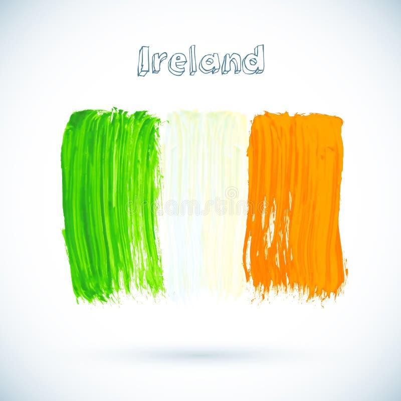 Bandiera dipinta dell'Irlandese, illustrazione di vettore illustrazione di stock