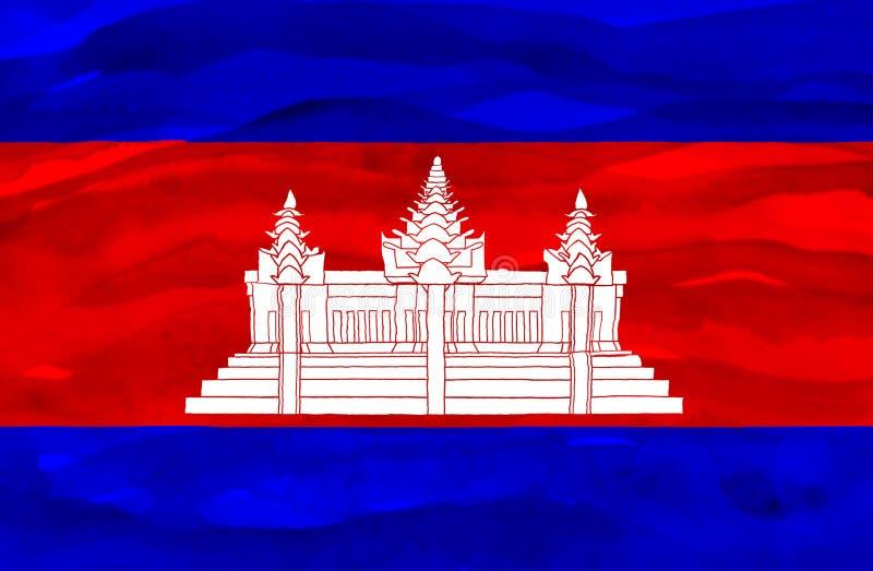 Bandiera dipinta della Cambogia fotografia stock