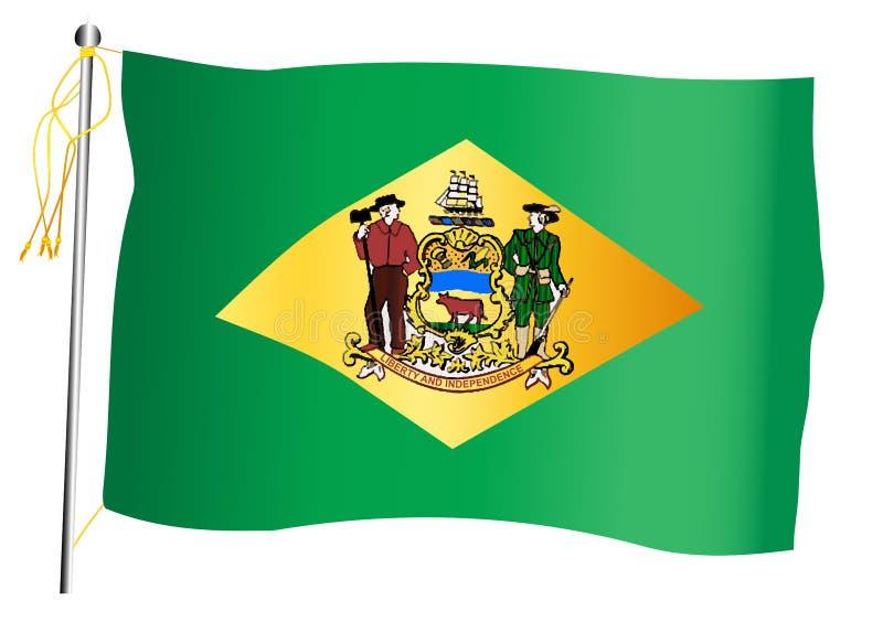Bandiera e asta della bandiera d'ondeggiamento dello stato del Delaware royalty illustrazione gratis