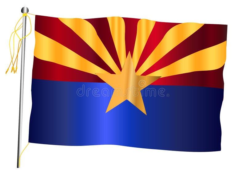 Bandiera e asta della bandiera d'ondeggiamento dello stato dell'Arizona illustrazione vettoriale