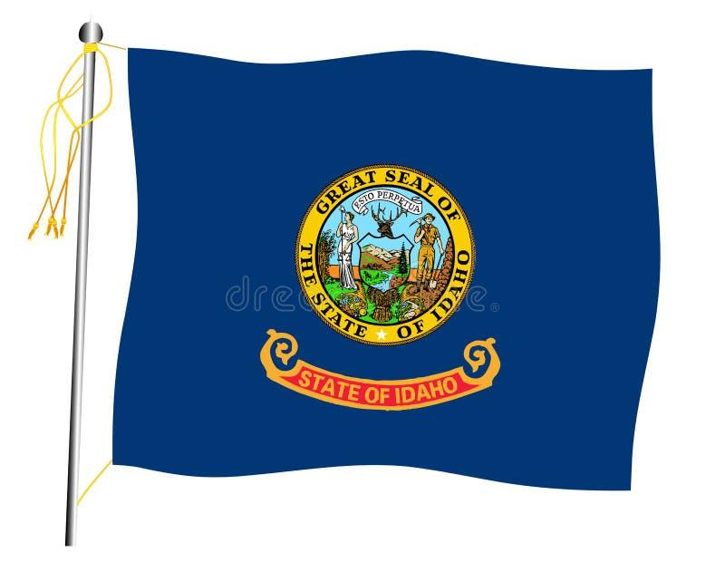 Bandiera e asta della bandiera d'ondeggiamento dello stato dell'Idaho illustrazione di stock