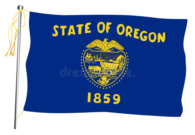 Bandiera e asta della bandiera d'ondeggiamento dello stato dell'Oregon illustrazione vettoriale