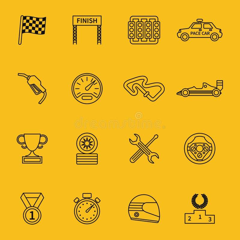 Bandiera e linea della corsa che corrono le icone illustrazione vettoriale