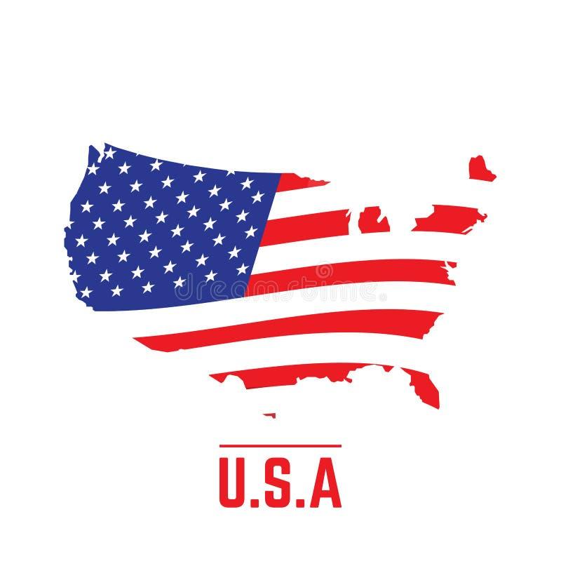 Bandiera e mappa degli Stati Uniti illustrazione vettoriale