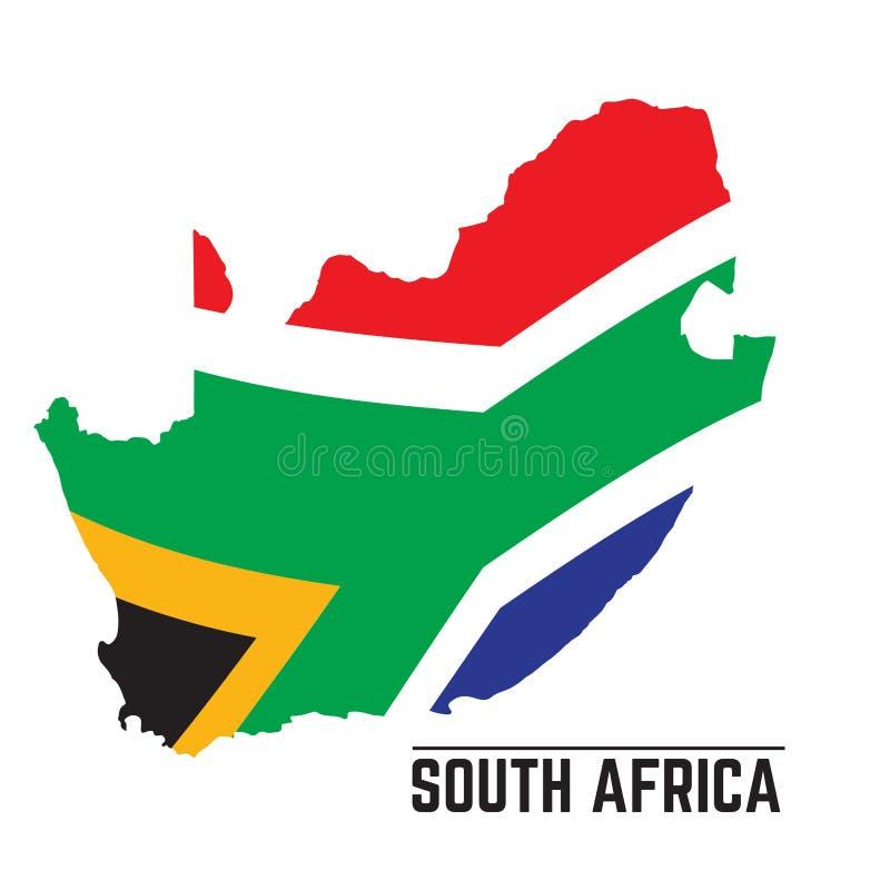 Bandiera e mappa del Sudafrica royalty illustrazione gratis