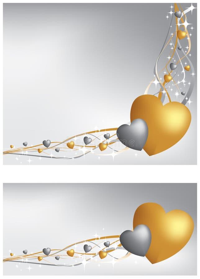 Bandiera e priorità bassa del cuore dell'oro e dell'argento illustrazione vettoriale