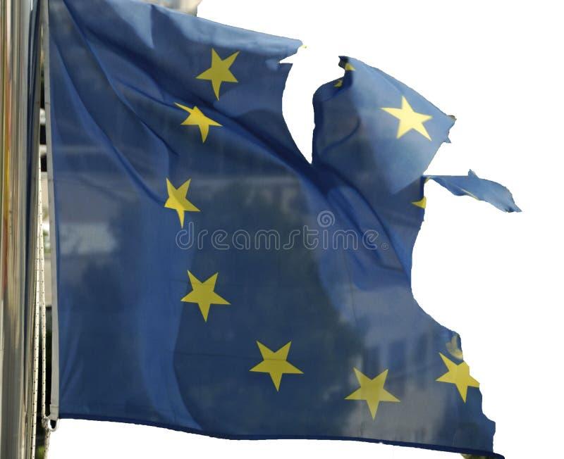 Bandiera europea con grandi danni - simbolico fotografia stock