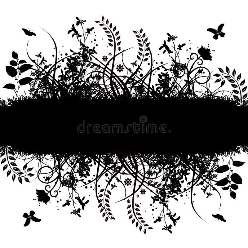 Bandiera floreale di vettore di Grunge illustrazione di stock