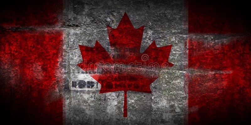 Bandiera Grungy del Canada sul primo piano di pietra del fondo di struttura immagine stock libera da diritti