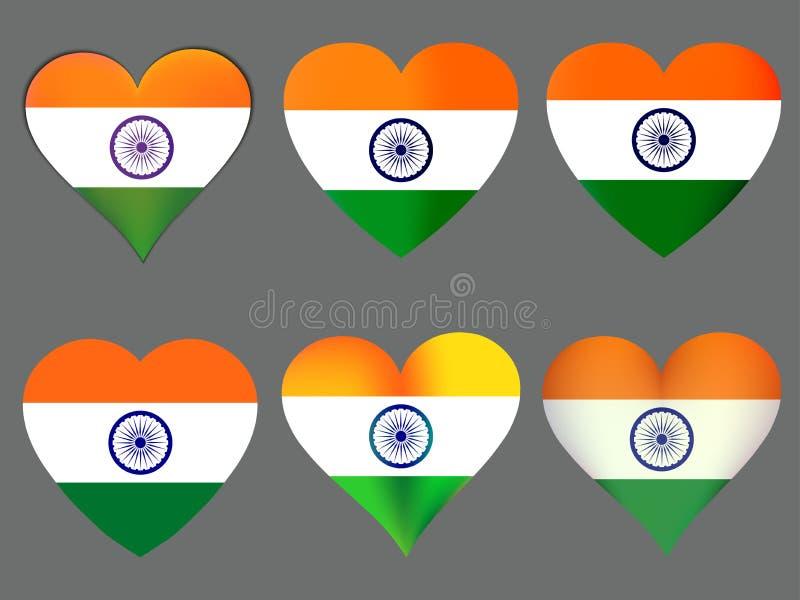 Bandiera indiana nel cuore Raccolta dei cuori con la bandiera indiana Vettore illustrazione di stock