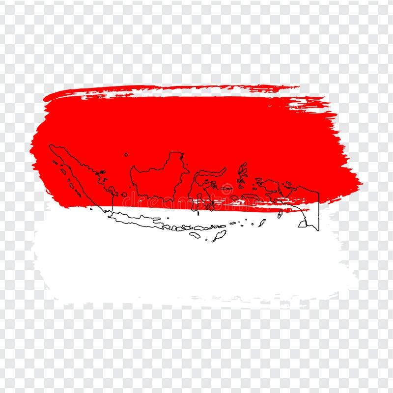 Bandiera Indonesia dai colpi della spazzola e dalla mappa in bianco Indonesia Mappa di alta qualità dell'Indonesia e della bandie illustrazione vettoriale