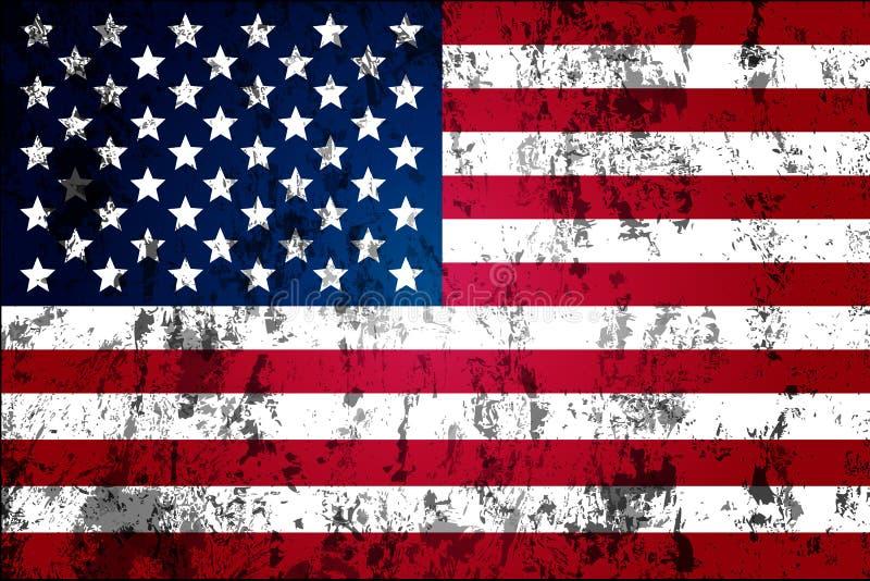 Bandiera indossata sporca di U.S.A. illustrazione vettoriale