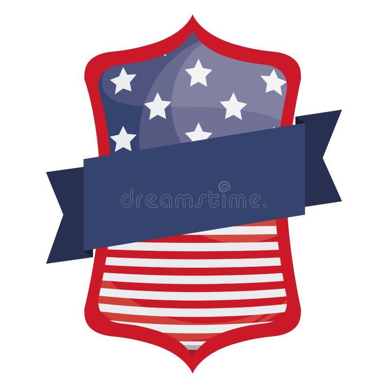 Bandiera isolata degli S.U.A. dentro progettazione della struttura illustrazione vettoriale