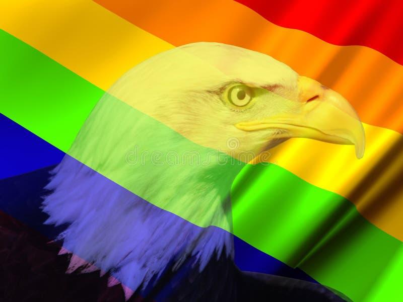 Bandiera lesbica gay dell'arcobaleno, Eagle immagini stock libere da diritti