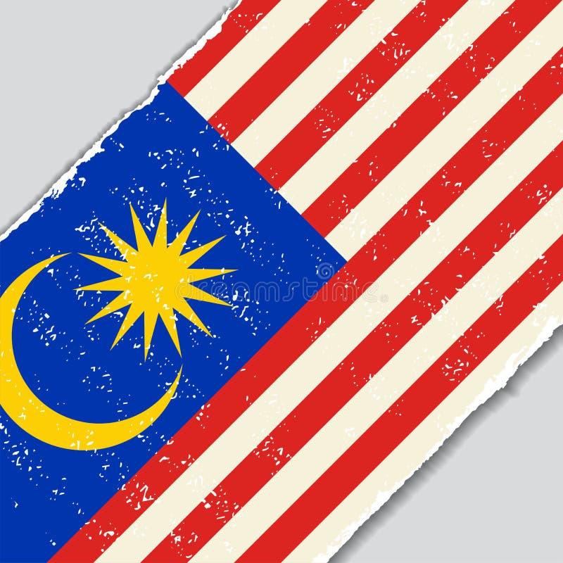 Bandiera malese di lerciume Illustrazione di vettore illustrazione di stock