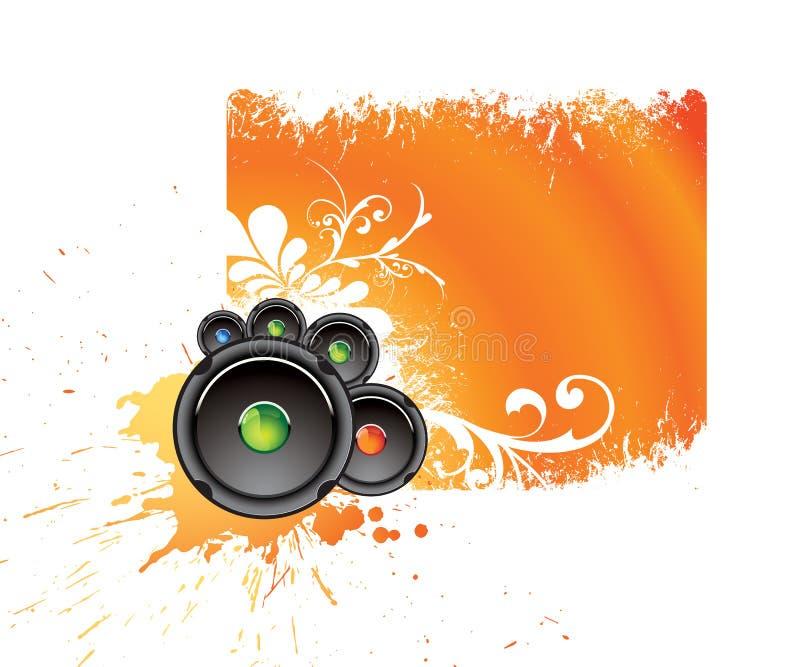 Bandiera musicale arancione illustrazione vettoriale