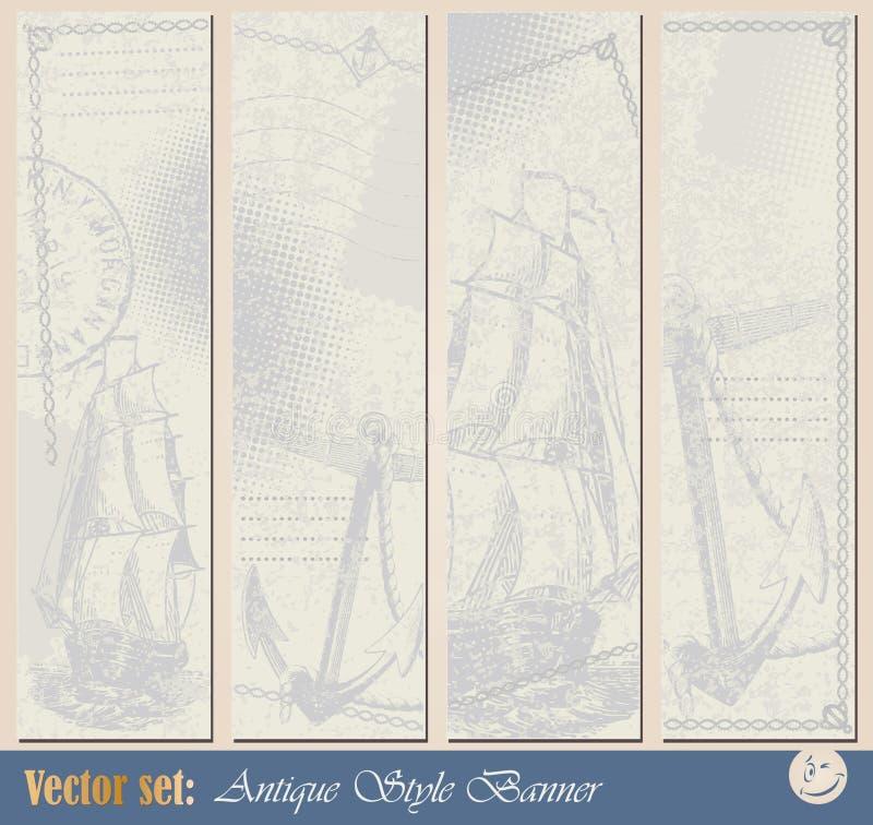 Bandiera nautica di Grunge illustrazione vettoriale