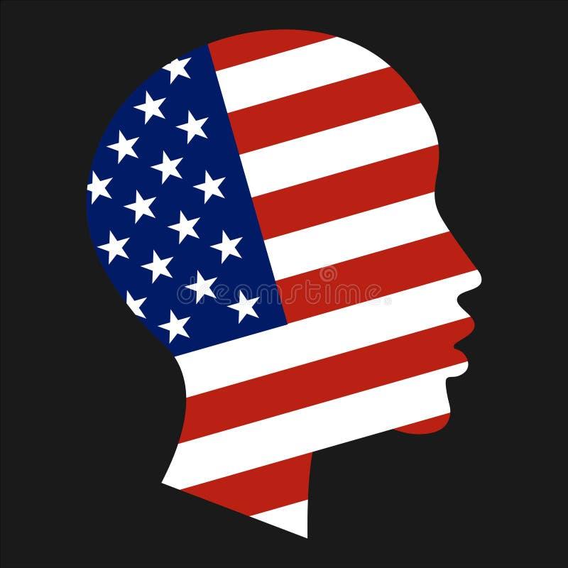 Bandiera nazionale degli Stati Uniti d'America nella forma di siluetta capa del ragazzo afroamericano Libertà, patriottismo e royalty illustrazione gratis