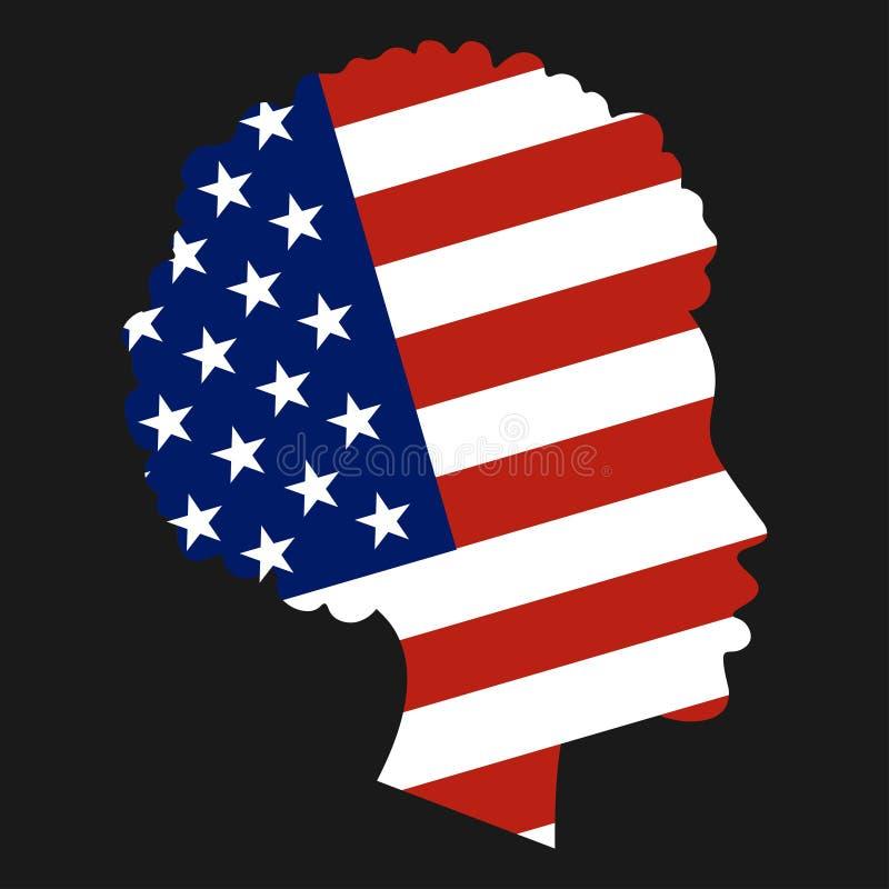 Bandiera nazionale degli Stati Uniti d'America nella forma di siluetta capa della ragazza afroamericana Libertà, patriottismo e royalty illustrazione gratis