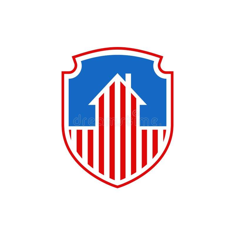 Bandiera nazionale degli Stati Uniti di simbolo della casa di U.S.A. di protezione Programma governativo illustrazione vettoriale