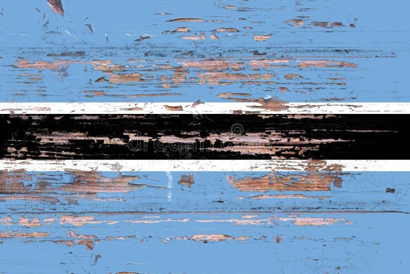 Bandiera nazionale del Botswana su un fondo di legno immagine stock