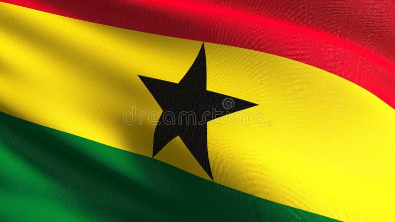 Bandiera nazionale del Ghana che soffia nel vento isolata Progettazione astratta patriottica ufficiale illustrazione della rappre illustrazione di stock