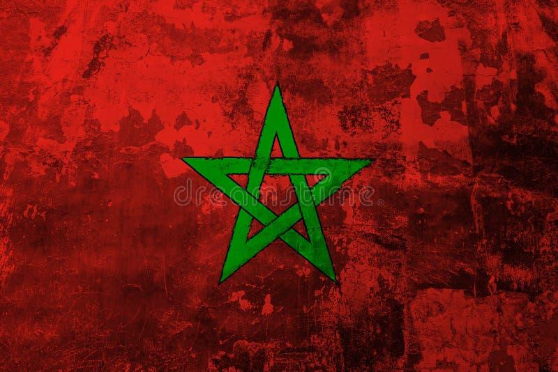 Bandiera nazionale del Marocco sui precedenti di vecchia copertura della parete illustrazione di stock