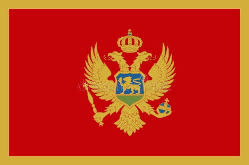 Bandiera nazionale del Montenegro Bandiera ufficiale dei colori accurati del Montenegro illustrazione vettoriale
