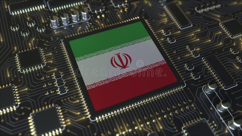 Bandiera nazionale dell'Iran sul chipset operativo Iran relativo allo sviluppo di tecnologie dell'informazione o hardware royalty illustrazione gratis