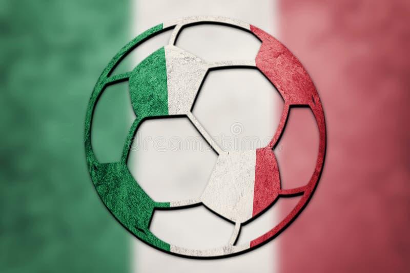 Bandiera nazionale dell'Italia del pallone da calcio Palla italiana di calcio fotografia stock libera da diritti