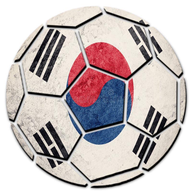 Bandiera nazionale della Corea del Sud del pallone da calcio Palla di calcio della Corea del Sud immagini stock libere da diritti