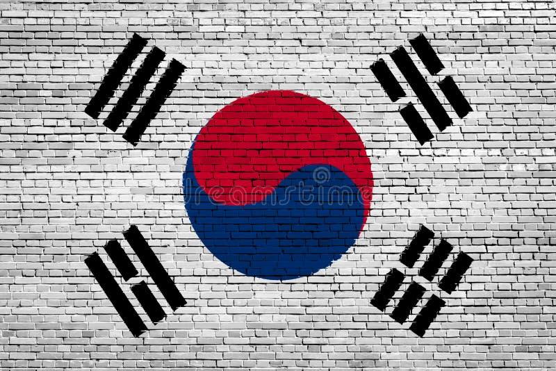 Bandiera nazionale della Corea del Sud su un mattone royalty illustrazione gratis