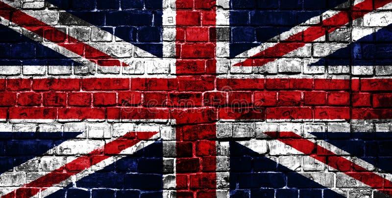 Bandiera nazionale della Gran Bretagna su un fondo del mattone fotografia stock