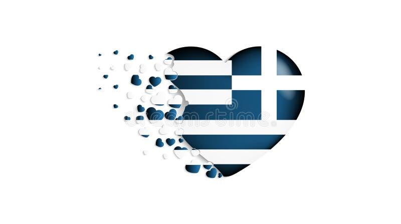Bandiera nazionale della Grecia nell'illustrazione del cuore Con affetto al paese della Grecia La bandiera nazionale della Grecia royalty illustrazione gratis