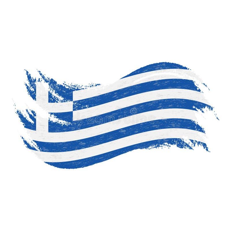 Bandiera nazionale della Grecia, progettata facendo uso dei colpi della spazzola, isolati su un fondo bianco Illustrazione di vet illustrazione vettoriale