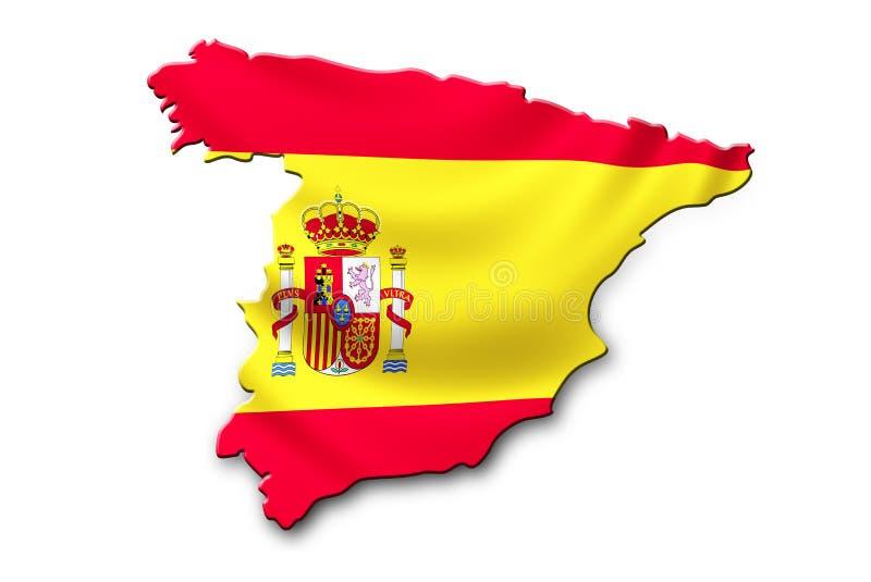 Bandiera nazionale della Spagna a forma di alla mappa del paese illustrazione vettoriale