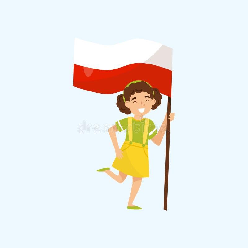 Bandiera nazionale della tenuta della ragazza della Polonia, elemento di progettazione per la festa dell'indipendenza, illustrazi royalty illustrazione gratis