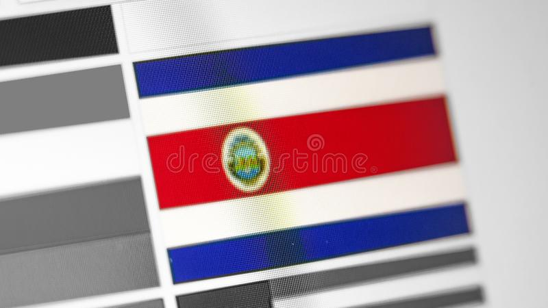 Bandiera nazionale di Costa Rica di paese Bandiera di Costa Rica sull'esposizione, un effetto di marezzatura digitale fotografia stock libera da diritti