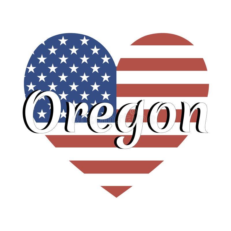 Bandiera nazionale a forma di del cuore degli Stati Uniti d'America con l'iscrizione del nome dello stato: L'Oregon nello stile m illustrazione vettoriale