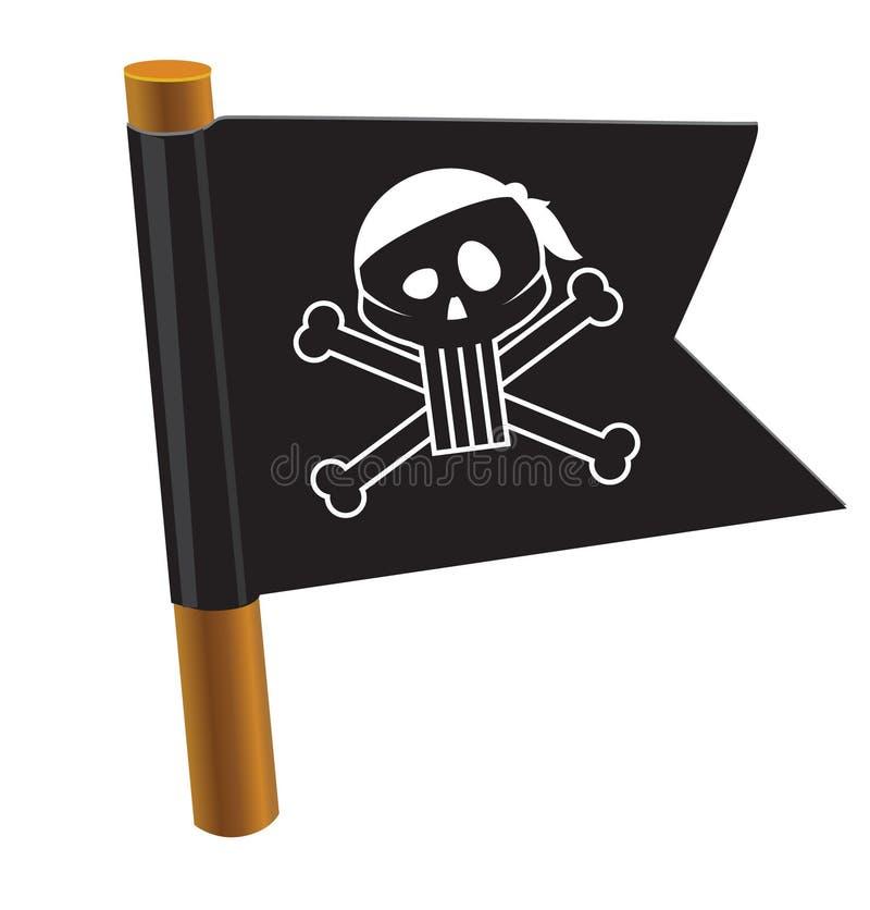 Bandiera nera con il simbolo del pirata royalty illustrazione gratis