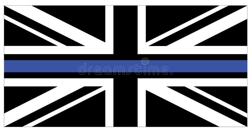Bandiera nera del Regno Unito con la linea sottile blu illustrazione di stock