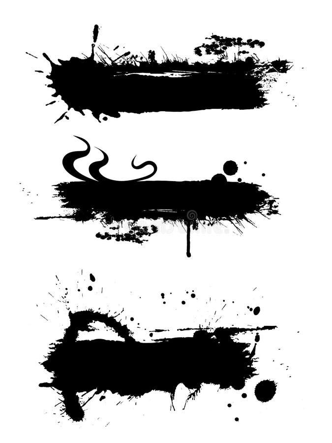 Bandiera nera dell'inchiostro con effetto del grunge dell'inchiostro royalty illustrazione gratis