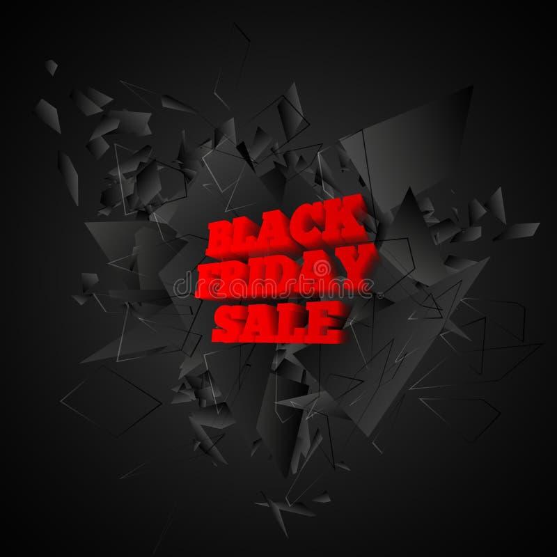 Bandiera nera di vendita di venerdì Esplosione nera astratta Illustrazione di vettore royalty illustrazione gratis