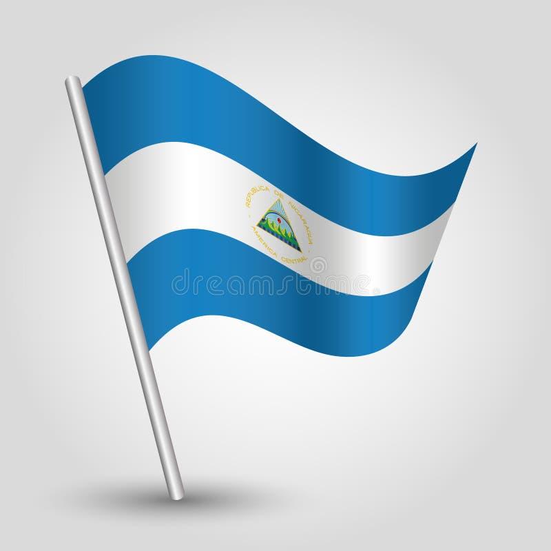Bandiera nicaraguese d'ondeggiamento del triangolo di vettore sul palo d'argento inclinato - simbolo della Nicaragua con il basto illustrazione vettoriale