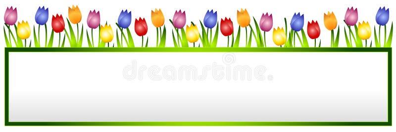 Bandiera o marchio del fiore dei tulipani della sorgente illustrazione di stock